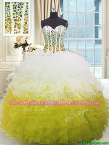 Stunning Sweetheart Sleeveless Sweet 16 Quinceanera Dress Floor Length Beading and Ruffles Yellow And White Organza