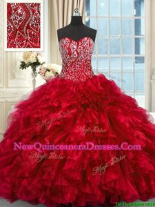 Luxury Red Sleeveless Organza Brush Train Lace Up Sweet 16 Dress for Military Ball and Sweet 16 and Quinceanera