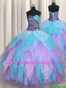 Inexpensive Spring and Summer and Fall and Winter Tulle Sleeveless Floor Length Sweet 16 Dresses andBeading and Ruching