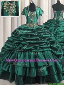 Vintage Pick Ups With Train Peacock Green Sweet 16 Dress Sweetheart Sleeveless Brush Train Lace Up