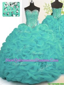 Dynamic Turquoise Ball Gowns Sweetheart Sleeveless Organza With Brush Train Lace Up Beading and Ruffles Sweet 16 Dresses