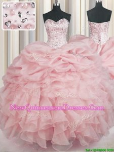 Shining Beading and Ruffles Ball Gown Prom Dress Baby Pink Lace Up Sleeveless Floor Length