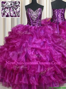 Clearance Floor Length Lace Up Sweet 16 Dress Fuchsia and In forSweet 16 and Quinceanera withBeading and Ruffles