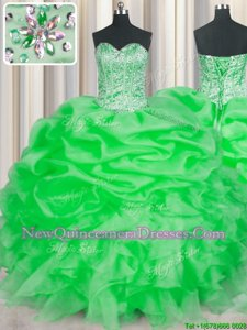 Nice Green Quinceanera Dress Military Ball and Sweet 16 and Quinceanera and For withBeading and Ruffles Sweetheart Sleeveless Lace Up