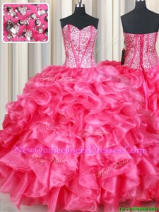 Smart Coral Red Sleeveless Organza Lace Up Sweet 16 Dresses for Military Ball and Sweet 16 and Quinceanera