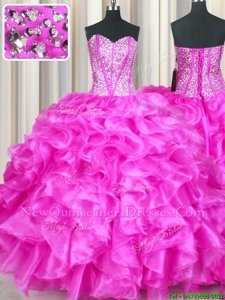 High End Fuchsia Lace Up Sweetheart Beading and Ruffles Sweet 16 Quinceanera Dress Organza Sleeveless
