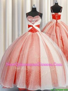 Sophisticated Spaghetti Straps Sleeveless 15 Quinceanera Dress Floor Length Beading and Sequins and Ruching Orange Red Organza