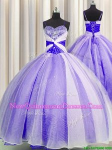 Glittering Lavender Organza Lace Up Spaghetti Straps Sleeveless Floor Length Quinceanera Dresses Beading and Sequins and Ruching