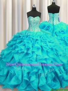 Smart Visible Boning Sleeveless Organza Brush Train Lace Up Quinceanera Dress inAqua Blue withBeading and Ruffles