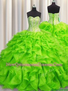 Fancy Visible Boning Spring Green Ball Gowns Beading and Ruffles Quinceanera Dresses Lace Up Organza Sleeveless Floor Length