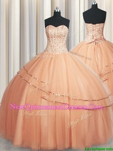 Deluxe Visible Boning Really Puffy Peach Sleeveless Beading and Ruching Floor Length Quinceanera Dresses