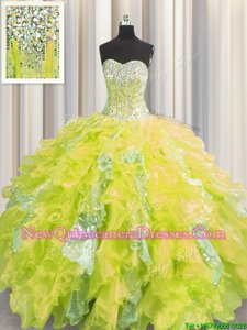 Beauteous Visible Boning Floor Length Yellow Sweet 16 Quinceanera Dress Organza and Sequined Sleeveless Spring and Summer and Fall and Winter Beading and Ruffles and Sequins