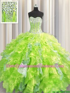 Luxurious Sequins Visible Boning Ball Gowns Ball Gown Prom Dress Yellow Green Sweetheart Organza and Sequined Sleeveless Floor Length Lace Up