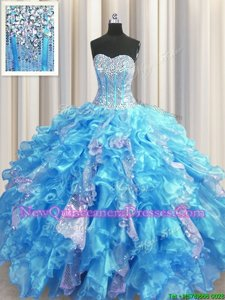 Fancy Visible Boning Baby Blue Lace Up Sweetheart Beading and Ruffles and Sequins Vestidos de Quinceanera Organza and Sequined Sleeveless
