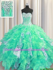 Beautiful Turquoise Sweetheart Neckline Beading and Ruffles and Sequins Quinceanera Dresses Sleeveless Lace Up
