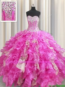 Best Visible Boning Fuchsia Ball Gowns Beading and Ruffles and Sequins Sweet 16 Dresses Lace Up Organza and Sequined Sleeveless Floor Length