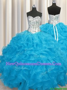 Aqua Blue Long Sleeves Floor Length Beading and Ruffles Lace Up Sweet 16 Dress
