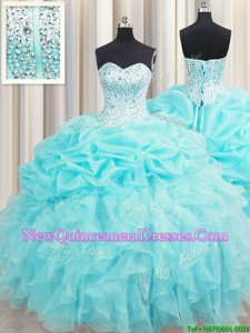 Attractive Visible Boning Aqua Blue Sleeveless Beading and Ruffles and Pick Ups Floor Length Sweet 16 Dress