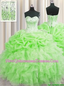 Delicate Visible Boning Spring Green Ball Gowns Organza Sweetheart Sleeveless Beading and Ruffles and Pick Ups Floor Length Lace Up Quinceanera Dresses