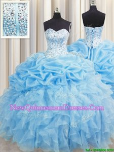 Eye-catching Visible Boning Baby Blue Lace Up Sweetheart Beading and Ruffles and Pick Ups 15th Birthday Dress Organza Sleeveless