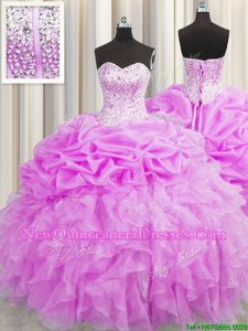 Dazzling Visible Boning Lilac Sleeveless Beading and Ruffles and Pick Ups Floor Length 15th Birthday Dress
