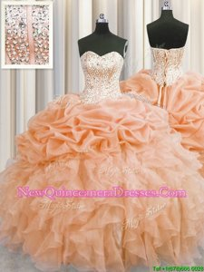 Visible Boning Sleeveless Organza Floor Length Lace Up Quinceanera Gown inOrange withBeading and Ruffles