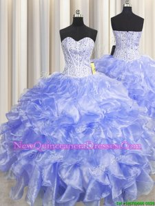 Fine Visible Boning Zipper Up Lavender Quinceanera Dress Military Ball and Sweet 16 and Quinceanera and For withBeading and Ruffles Sweetheart Sleeveless Zipper