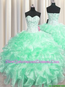 Fantastic Visible Boning Ball Gowns Sweet 16 Dresses Apple Green Sweetheart Organza Sleeveless Floor Length Zipper