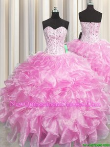 Custom Made Visible Boning Zipper Up Rose Pink Sleeveless Organza Zipper 15 Quinceanera Dress for Military Ball and Sweet 16 and Quinceanera