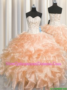 Fancy Visible Boning Zipper Up Organza Sweetheart Sleeveless Zipper Beading and Ruffles Sweet 16 Dress inPeach
