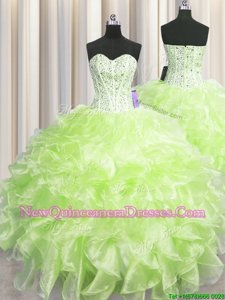Visible Boning Floor Length Yellow Green Quinceanera Gowns Sweetheart Sleeveless Zipper
