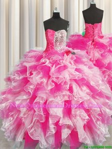 Shining Multi-color Sweetheart Neckline Beading and Ruffles and Ruching Sweet 16 Dress Sleeveless Lace Up
