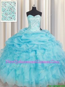 Beauteous Baby Blue Lace Up Sweetheart Beading and Ruffles Sweet 16 Dress Organza Sleeveless