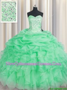 Designer Apple Green Sweetheart Lace Up Beading and Ruffles Vestidos de Quinceanera Sleeveless