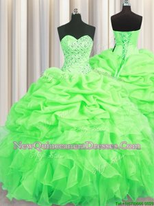Perfect Spring Green Organza Lace Up Quinceanera Dress Sleeveless Floor Length Beading and Ruffles and Pick Ups