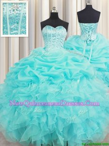 Pretty Visible Boning Floor Length Lace Up Quinceanera Dress Baby Blue and In for Military Ball and Sweet 16 and Quinceanera withBeading and Ruffles and Pick Ups