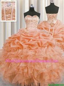 Flare Visible Boning Sleeveless Beading and Ruffles and Pick Ups Lace Up Vestidos de Quinceanera