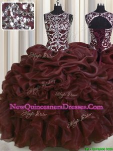 Best Selling See Through Floor Length Ball Gowns Sleeveless Burgundy Quinceanera Dresses Lace Up