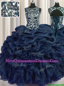 Pick Ups Scoop Sleeveless Lace Up Quinceanera Gown Navy Blue Organza