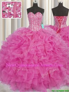 Modest Visible Boning Floor Length Ball Gowns Sleeveless Hot Pink Vestidos de Quinceanera Lace Up