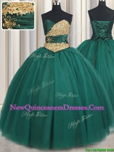 Beautiful Beading and Appliques Quince Ball Gowns Peacock Green Lace Up Sleeveless Floor Length