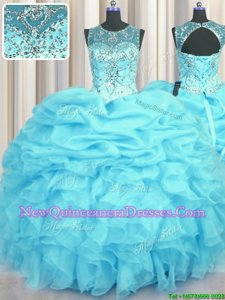 See Through Scoop Sleeveless Lace Up Quince Ball Gowns Aqua Blue Organza