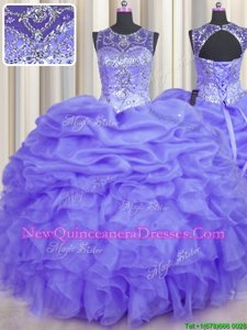 New Style See Through Lavender Sleeveless Organza Lace Up Quinceanera Dress for Military Ball and Sweet 16 and Quinceanera