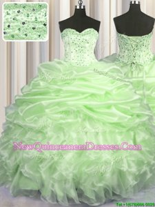 Designer Sweetheart Sleeveless Organza Quinceanera Dresses Beading and Ruffles and Pick Ups Brush Train Lace Up