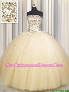 Smart Really Puffy Champagne Tulle Lace Up Quinceanera Dress Sleeveless Floor Length Beading and Sequins