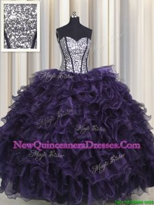 Superior Visible Boning Floor Length Purple Quinceanera Gown Organza and Sequined Sleeveless Spring and Summer and Fall and Winter Ruffles and Sequins