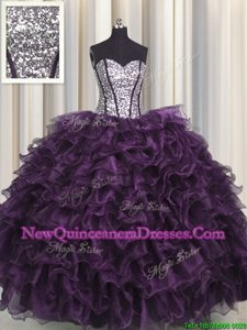 Visible Boning Eggplant Purple Lace Up Sweetheart Ruffles and Sequins 15 Quinceanera Dress Organza and Sequined Sleeveless