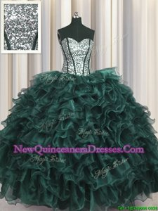 Graceful Sequins Visible Boning Peacock Green Sleeveless Organza and Sequined Lace Up Sweet 16 Quinceanera Dress for Military Ball and Sweet 16 and Quinceanera