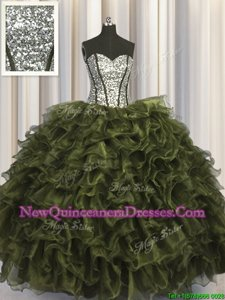 Classical Sequins Visible Boning Floor Length Ball Gowns Sleeveless Olive Green Quinceanera Gown Lace Up