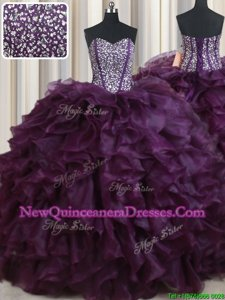 Exquisite Floor Length Lace Up Vestidos de Quinceanera Dark Purple and In for Military Ball and Sweet 16 and Quinceanera withBeading and Ruffles